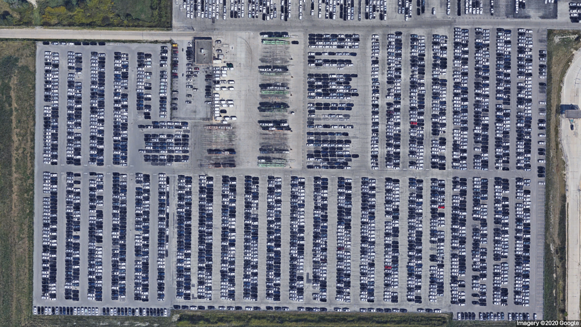 Finished car lot at GM plant, Roanoke, IN